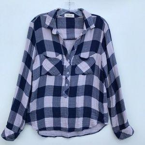 Bella Dahl Popover Checks LS Shirt #1416